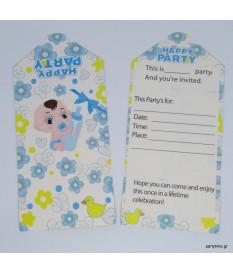 Προσκλήσεις μωράκια μπλε