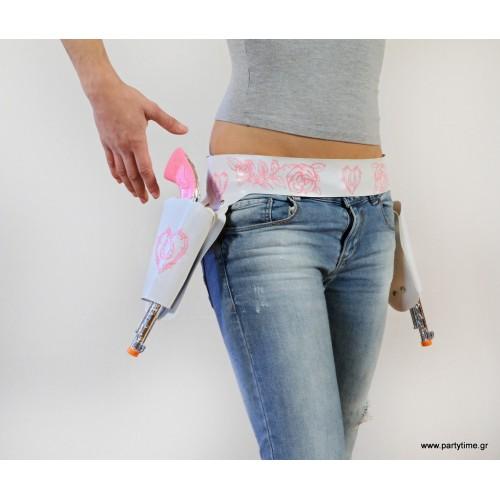 Ροζ πιστόλια με ασορτί ζώνη